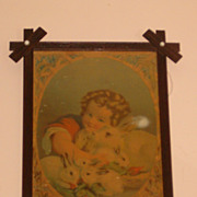 "Antique Chromolithgraph Cross Frame with Porcelain Buttons ""The Little Father"" 1881"