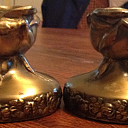 Vintage Brass Plated Rose Blossom Candle Holder Set of 2
