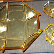 Amber Depression Glass 8 Panel Art Deco Bowl and Candle Holders