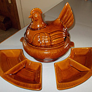 California Pottery Large Hen Soup Tureen with Side Dishes Circa 60's 70's
