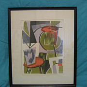SALE Mid Century Modern Lithograph~ Unsigned~Abstract Design