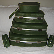 SALE 1960's Vintage Mod Luggage  6 Piece  Set ~ Avocado Green