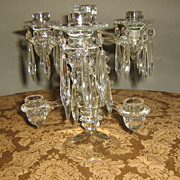 SALE Vintage Cambridge 7 Light Crystal Candelabra! Fantastic Design Concept