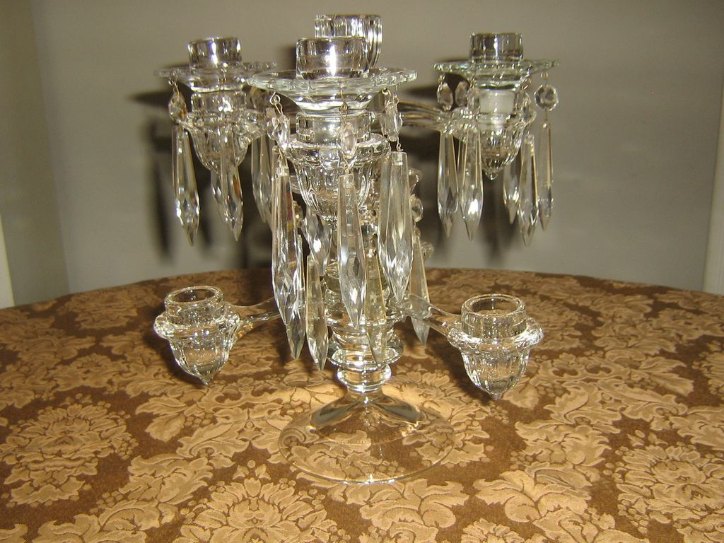 Vintage Cambridge 7 Light Crystal Candelabra! Fantastic Design Concept