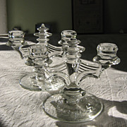 Tiffin # 5831 Crystal Vintage Candlesticks~ 2-lite Pair with Etched Rose Bases