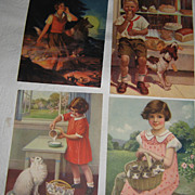 "Vintage Prints~ Set of 4~ Children with Pets~ Lithographs ca"" 1930's"