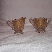 SALE Cambridge Glass 3400/68 Wildflower Gold Encrusted Cream & Sugar Set
