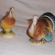 Turkey Salt & Pepper Shakers Japan 1960's Vintage Bisque Finish