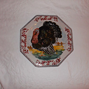 "Vintage Italian Hand Painted Turkey Plate 10.75"" A hand Painted Beauty!!"