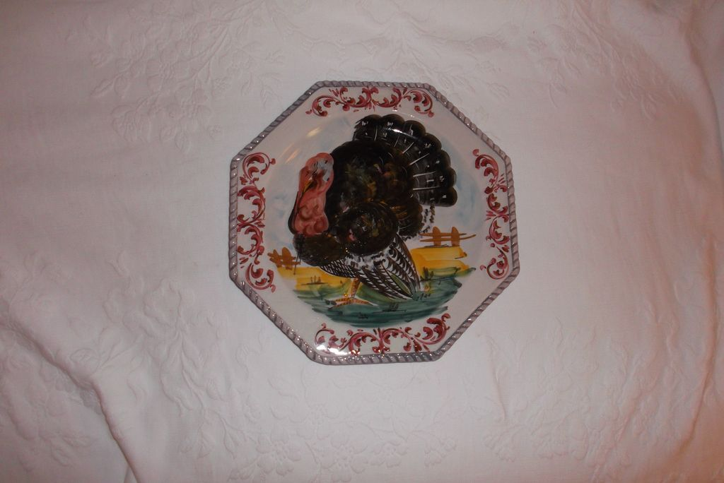 Vintage Italian Hand Painted Turkey Plate 10.75&quot; A hand Painted Beauty!!