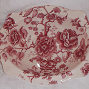 Johnson Brothers English Chippendale Vegetable Serving Bowl~ Vintage Pink Transferware!