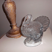 SALE Glass Covered Candy Turkey Dish ~ L E Smith Co. ~