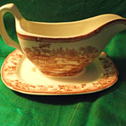SALE Clarice Cliff Tonquin Gravy Boat~ Royal Staffordshire Vintage Red Transferware