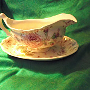 SALE Johnson Brothers Rose Chintz Gravy Boat & Liner ~ Early Mark ~ Made in England
