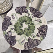 Pr of Majolica Floral Plates~ Pansies~ German ~ Early 1900's era