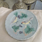 Majolica Plate Birds & Grapes Motif Made by Zell in Germany a: 1920's