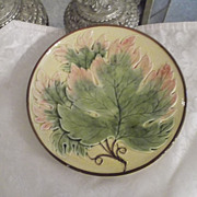 "Majolica Grape Leaf Motif 7.5"" Plate Beautiful Earth tones!! German ca: early 1900"