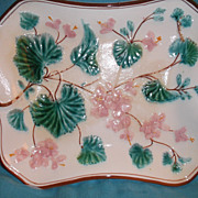 "SALE Majolica Platter ~ Bleeding Heart Floral Motif~ 12"" by 10"" ~ Vintage Beauty!!"
