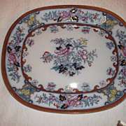 "SALE Antique Ironstone Polychrome 17""x 14"" Platter~ ""Pekin""  M.E. & Co ca:"