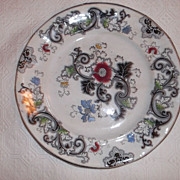 "SALE Ironstone Black Transferware 1845~ 10.25"" Polychrome Decorated Plate"