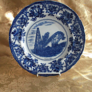 Flow Blue Historical Plate ~ Flowing Oil Well, Bradford, PA Late 1800's era
