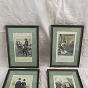 SALE Les Martyrs Paul Gavarni 1804-1866 Lithographs 4 Prints from a Series of 8