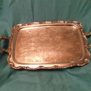 "SALE Vintage Silver Plate Serving Tray William A. Rogers 24"" x 13"" 5.50"