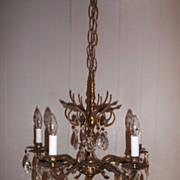 "Vintage Gilt Brass & Crystal Chandelier w/ 17.50"" Made In Spain Sweet Elegance"