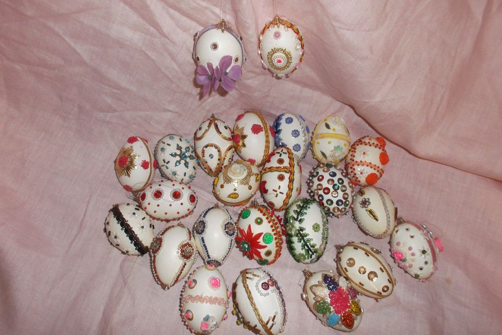 Vintage Folk Art Decorated Pysanky Easter Eggs!! ca: 1960-1970's Ukrainian Style