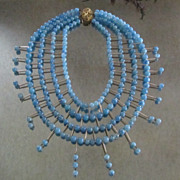 Blue Plastic Beaded Bib Necklace~ Large & Fabulous!!