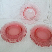 "Pink Twisted Optic Depression Plates 7-1/2"" 1927-1930 Imperial Glass Co."