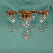 Gold Encrusted Crystal Wine Goblets~ 1960's-1970's era