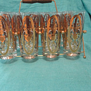 Set of 8 UTD Glass Tumblers Gold Decorated 1960's Era w/ Holder