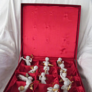 Boxed Set of 12 Heralding Angel Bisque Ornaments