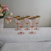 Tiffin Pink Crystal  22K Gold Encrusted Goblets Depression Era