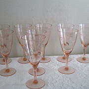 Tiffin Pink Crystal Goblets Set of 9 ~ Etched Beauties!