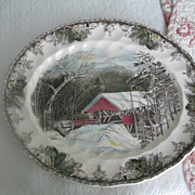 "Friendly Village by Johnson Brothers 15-1/2"" Platter ~ The Covered Bridge"