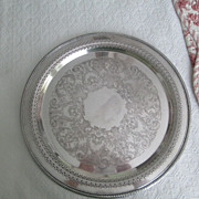 "William Rogers Reticulated 15"" Round Tray Silver Plated ~ Beautiful!"