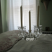 Cambridge Caprice #1358 3 Lite Candelabra with 2 Bobeche & Prisms