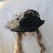 Vintage Black Straw Dolls Hat~ Mourning Attire for Doll