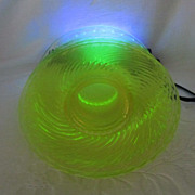 "Vaseline Depression Glass~ Twisted Optic~ Imperial Glass Co. 7"" Plate"