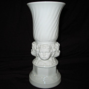 Vintage French Porcelain Vase~ Three Cherubic Faces~ Beautiful