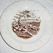 SALE Antique Child's Alphabet Plate ~ English Staffordshire Brown Transferware