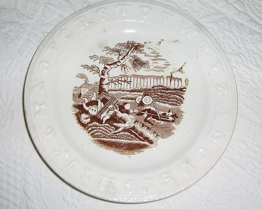 Antique Child's Alphabet Plate ~ English Staffordshire Brown Transferware