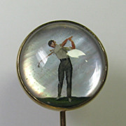 Antique Edwardian/Art Deco 14K 10K Gold Essex Crystal Golfer Stick Pin