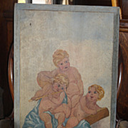 Antique Folk Art Painting Of Cherub Angels - 19th Century