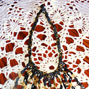Intricate Vintage Seed Bead Fringe Necklace - Hand Made