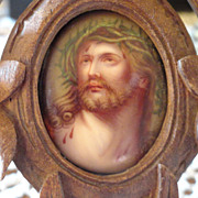 REDUCED Miniature Portrait Of Jesus with Hand Carved Black Forest Wooden Frame - 19th Century
