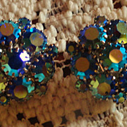 REDUCED Weiss Aurora Borealis Blue Rhinestone Clip On Earrings