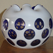 Cobalt Blue/White Honeycomb Cut To Clear Rose-Bowl - 19th Century